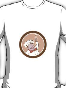 Chef Cook Holding Fork Cartoon T-Shirt