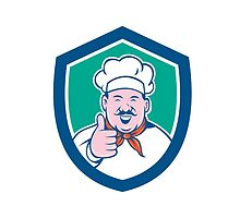 Chef Cook Happy Thumbs Up Shield Cartoon by patrimonio