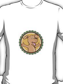 Dog Arms Out Rosette Cartoon T-Shirt