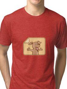 Dog Arms Out Label Cartoon Tri-blend T-Shirt