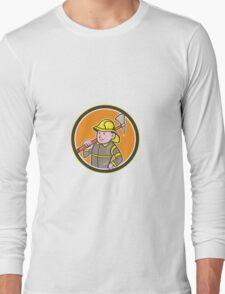 Fireman Firefighter Axe Circle Cartoon Long Sleeve T-Shirt