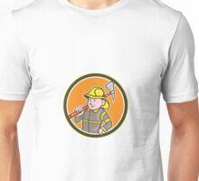 Fireman Firefighter Axe Circle Cartoon Unisex T-Shirt