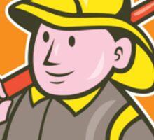 Fireman Firefighter Axe Circle Cartoon Sticker