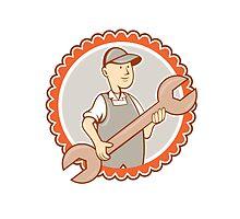 Mechanic Spanner Wrench Rosette Cartoon by patrimonio