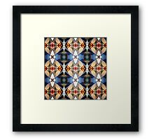 Earth Tones Geometric Abstract Pattern Framed Print