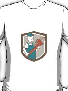 Plumber Monkey Wrench Shield Cartoon T-Shirt