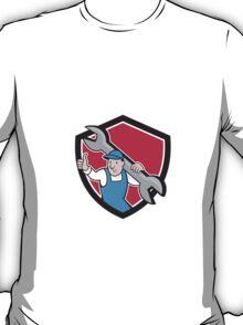 Plumber Thumbs Up Monkey Wrench Cartoon T-Shirt