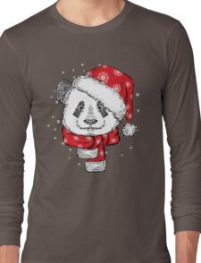Panda Christmas with hat and scarf Long Sleeve T-Shirt