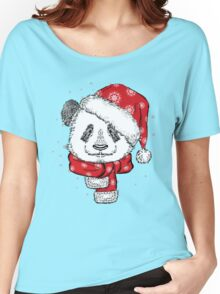 Panda Christmas with hat and scarf Women's Relaxed Fit T-Shirt