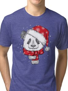 Panda Christmas with hat and scarf Tri-blend T-Shirt