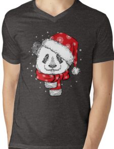 Panda Christmas with hat and scarf Mens V-Neck T-Shirt