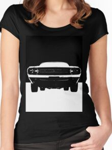 Muscle Car Black & White Women's Fitted Scoop T-Shirt