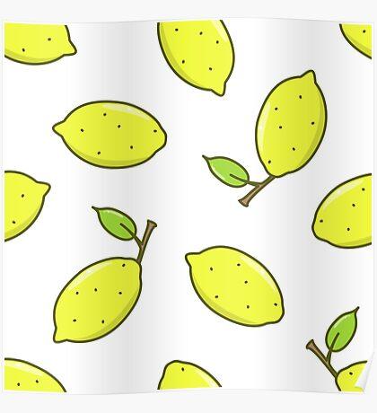 Lemon fruit with leaf Poster
