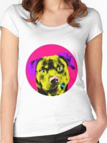 Pink Bubble Rottweiler Pop Art Women's Fitted Scoop T-Shirt
