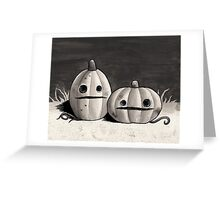 Old Friends - Pumpkins in Black and Grey Greeting Card