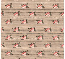 Pretty Pink Flowers on Barn Board Pattern  by Vickie Emms
