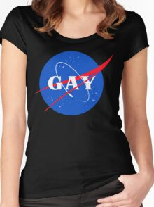 Nasa Gay Pride Logo Women's Fitted Scoop T-Shirt