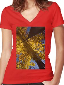Geometric Autumn Shadows - a Vertical View Women's Fitted V-Neck T-Shirt