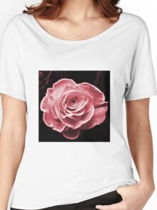 Pink abstract fractal rose flower Women's Relaxed Fit T-Shirt