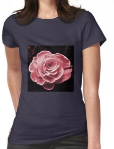 Pink abstract fractal rose flower Womens Fitted T-Shirt