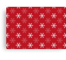 Snowflake Pattern | Red and White Canvas Print