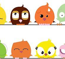 Funny cute cartoon birds by berlinrob