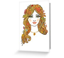Lovely girl face with curly hair and autumn leaves Greeting Card