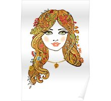 Lovely girl face with curly hair and autumn leaves Poster