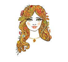 Lovely girl face with curly hair and autumn leaves Photographic Print