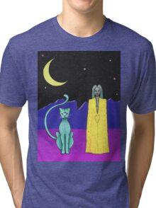 Space cat alien witch girl moon galaxy sorceress  Tri-blend T-Shirt