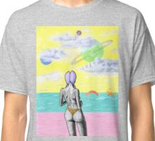 Beach alien bikini babe fantasy sea monster Classic T-Shirt