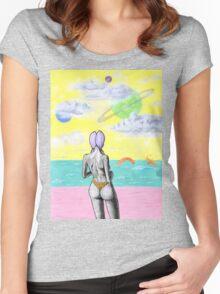 Beach alien bikini babe fantasy sea monster Women's Fitted Scoop T-Shirt
