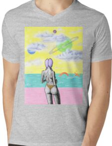 Beach alien bikini babe fantasy sea monster Mens V-Neck T-Shirt