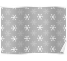 Snowflake Pattern | Grey and White Poster