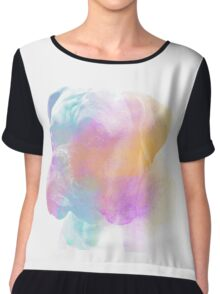 Cute Boxer Dog Water Color Painting Art Chiffon Top