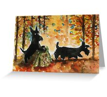 Scottie Dogs 'Autumn Fun' Greeting Card