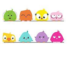 Cute funny cartoon birds by berlinrob