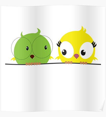 Two cute birds in love Poster