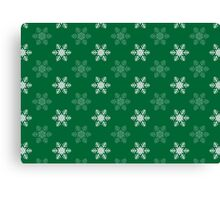 Snowflake Pattern | Green and White Canvas Print