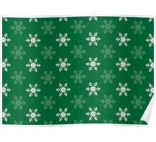 Snowflake Pattern | Green and White Poster