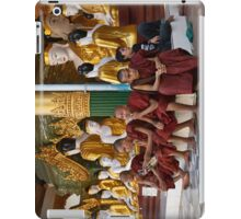 faithful Buddhist monks sitting around Buddha Statues in SHWEDAGON PAGODA iPad Case/Skin