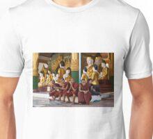 faithful Buddhist monks sitting around Buddha Statues in SHWEDAGON PAGODA Unisex T-Shirt