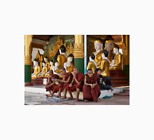 faithful Buddhist monks sitting around Buddha Statues in SHWEDAGON PAGODA Unisex T-Shirt