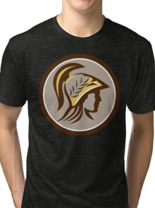 Minerva Head Helmet Circle Retro Tri-blend T-Shirt