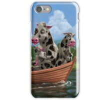 Cartoon Cow Family on Boating Holiday iPhone Case/Skin