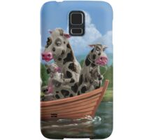 Cartoon Cow Family on Boating Holiday Samsung Galaxy Case/Skin