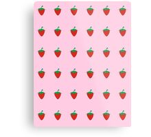Strawberry Patch : Fruit Berry Pink Pattern Metal Print