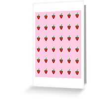 Strawberry Patch : Fruit Berry Pink Pattern Greeting Card