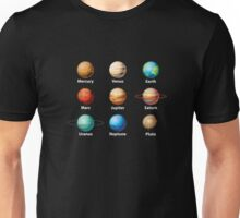 Planets Of Our Solar System Space Science Astronomy T-Shirt Unisex T-Shirt