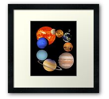 Planets of the Solar System and the Sun T-shirt Framed Print